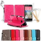 For Samsung Galaxy S2 SII i9100 3D Crystal PU Leather Case Cover Flip Glass Film