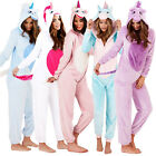 Womens Unicorn Onesie Ladies Pyjamas 3D Ears Horn & Tail All In One Sleepsuit