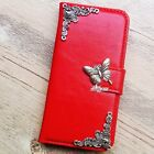 Butterfly phone wallet Leather flip case Red Card Back cover For Samsung S7 EDGE