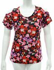 WOMENS BLACK CUT SHOULDER TOP STRETCH RED PINK FLORAL PRINT LADIES