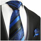 Blue and Black Silk Tie and Pocket Square by Paul Malone