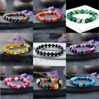Natural Agate Round Loose Beads Bracelet Stretchy Gemstone Bangle Cuff 4mm-12mm image