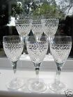 Stourbridge Crystal 6 Cross & Laurel Border Cut Medium Wine Glasses x 6 English