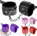 Purple/Black Handcuffs Up Leather Sex Slave Hand Ring Ankle Cuffs Restraint Toy