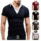 Korean Men's Casual 2 in 1 T-Shirts Fashion Summer Slim Short Sleeve Tee Shirts