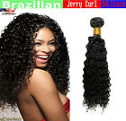 9A JERRY CURL Brazilian Real Virgin Human Hair Weave Remy Lovely Hair  #1B-Black