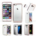 Slim Fit Transparent Jelly Metallic Edge Back Case Cover For iPhone Galaxy LG