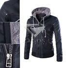 Men's Stylish Slim Fit Hooded Black Motorcycle PU Leather Jacket Coat M-XXL