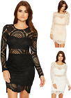 Womens Crochet Lace Party Dress Ladies Long Sleeve Bodycon Stretch Round Neck