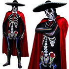 DLX DAY OF THE DEAD COSTUME SKELETON SKINSUIT SOMBRERO CAPE BOW TIE FANCY DRESS