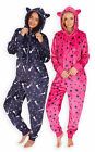 Ladies Star Print Hooded Onesie New Womens Full Length Soft Fleece Onezee S-XL