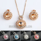 A1-S065 Fashion CZ Micro Inlays Earrings Necklace Jewelry Set 18KG Crystal