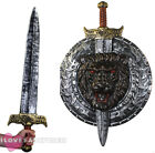 "SILVER 29"" GLADIATOR SWORD AND 20"" SHIELD SET MEDIEVAL WARRIOR FANCY DRESS"