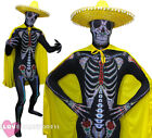YELLOW DAY OF THE DEAD COSTUME SKELETON SKINSUIT SOMBRERO HAT CAPE FANCY DRESS