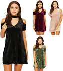 Womens Choker Velour Flared Mini Dress Ladies Cold Shoulder Short Sleeve 8-14
