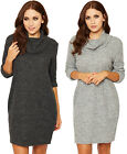 Womens Knitted Baggy Dress Ladies Cowl Neck Long Sleeve Short Mini Plain 8-14