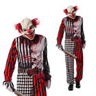 Adults Evil Clown Fancy Dress Costume Circus Hell Scary Spooky Halloween Outfit
