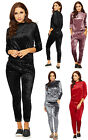 Womens Crushed Velour Loungewear Set Ladies Top Leggings Pocket Twin Suit 8-14