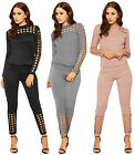 Womens Square Laser Cut Loungewear Set Ladies Top Leggings Co-Ordtwin Suit 8-14