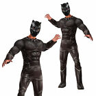 Rubies Deluxe Mens Black Panther 3D Chest Muscle Jumpsuit Fancy Dress Costume