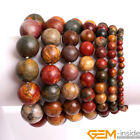 Handmade Natural Picasso Jasper Gemstone Beaded Energy Stretchy Bracelet 7""