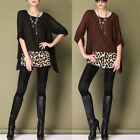 BLACK/BROWN CHIFFON LEOPARD ADJUSTABLE SLEEVE TUNIC TOP 3183 SIZE M L XL XXL