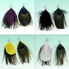 2PCS Tribal Natural Peacock Tail Feather Dangle Hook Earrings Ear Gift Jewelry