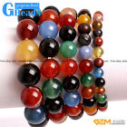 Handmade Natural Multi-Color Agate Beaded Stretchy Bracelet Free Shipping 7""
