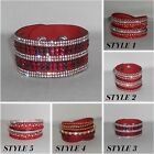 Bracelet,Cuff,Red,Crystals,Leather Style...Adjustable Bracelet /Choker