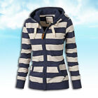 Women Long Sleeve Hoodie Sweatshirt Casual Striped Hooded Zipper Coat Fashion