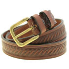 """Made In USA 1 3/8"""" Rich Brown Bridle Leather Embossed Belt Antique Brass Buckle"""