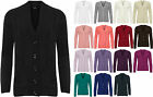 Womens Plus Knitted Pocket Cardigan Ladies Button Long Sleeve Plain Top 16-26