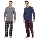 Mens Loungewear Check Cotton Flannel Pyjama Winter Warm Jersey Top Set Pjs