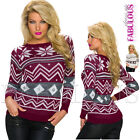 New Sexy Women's Ladies Snowflake Sweater Top Jumper Pullover Size 8 10 12 S M L