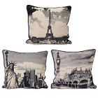 """Large City Tapestry Cushion Cover In Vintage Black & Cream - 24"""" X 24"""""""