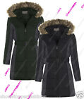 NEW PADDED Womens HOODED WINTER COAT Ladies Jacket Size 8 10 12 14 16 Fur Parka