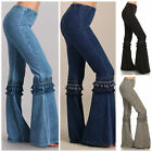 Denim Effect Hippie Boho Bell Bottom Flare Stretch Fringe Pants Yoga Plus S-3X