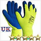 6 PAIRS HI VIZ LATEX RUBBER WORK GLOVES THERMAL WINTER NEW  GARDENING BUILDERS