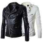 Men's Stylish Slim Fit PU Leather Jacket Coat Tops Biker Motorcycle Outerwear