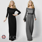 Womens Maxi Party Cocktail Dress Boat Neck Long Sleeve Evening Full Length 8-14