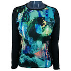 Hot Chillys Womens Base Layer Top Peachskin Crew Abstract Ocean / Black HC3050