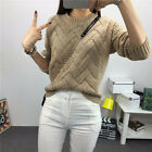 Hot Women Long Sleeve Sweaters Pullover O-neck Plaid Knitted Warm Casual Tops