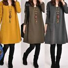 Fashion Women's Winter Long Sleeve Round Neck Casual Cotton Dress Kaftan Sweater