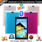 "7"" 3G Phone Android 4.2 Dual SIM Camera Smartphone Tablet PC Bluetooth GPS Wifi"