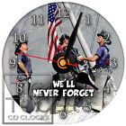 S-783 CD CLOCK-9-11 WE'LL NEVER FORGET-DESK OR WALL CLOCK-GREAT GIFT