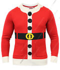 Mens Christmas Jumper Xmas Knitted Santa Costume Novelty 3D Sweater New S M L XL