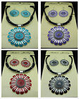 Free TOP Tibetan silver Sun flower Earrings Leather necklace Jewelry sets 4color