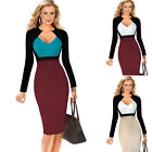 NEW Womens Bodycon Collared Dress Ladies  Long Sleeve Pencil Dress Size S -5XL ✲