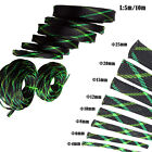 5M/10M Cable Protection Sleeving Green Black Tight Braided PET Expandable Sleeve