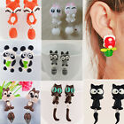 HOT Polymer Clay 3D Animal Cat Fox Shark Dinosaur Piranha Ear Stud Earrings